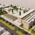Bild 04 - So soll die neue Schillerschule aussehen: rechts der erweiterte Ostflügel. Die Mensa steht schon. Pavillons und Westflügel verschwinden.